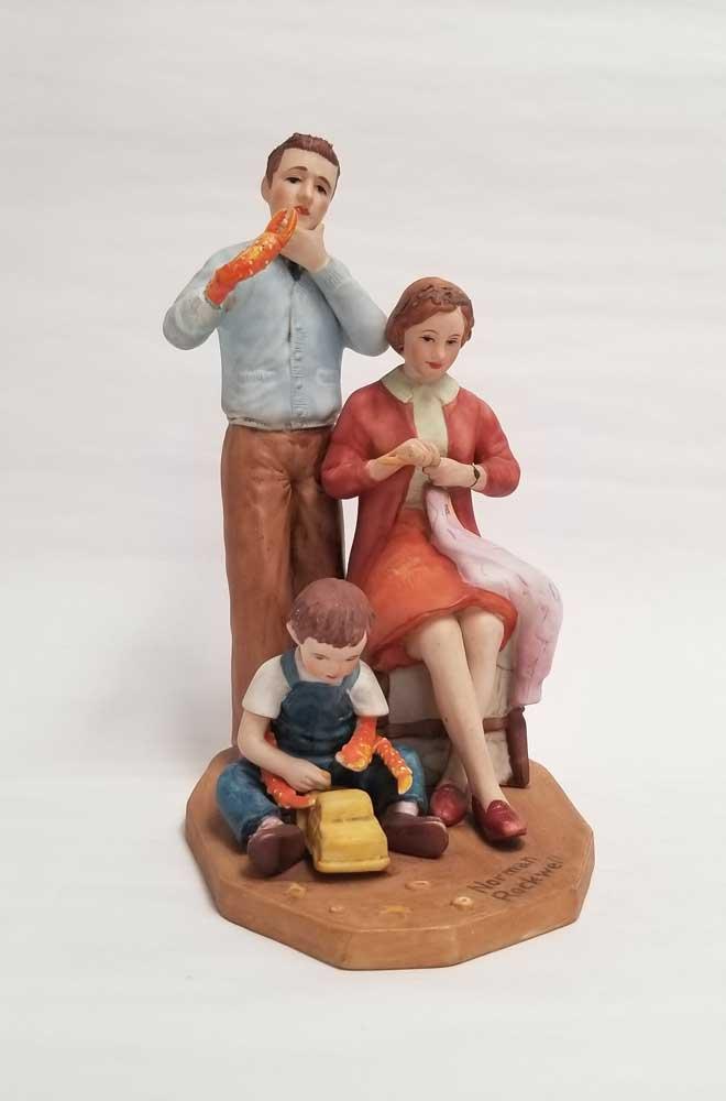 "Debra BrozCrab Family, 2020 Plastic and mixed media on secondhand ceramic figurine, 8"" x 4"" x 6"""