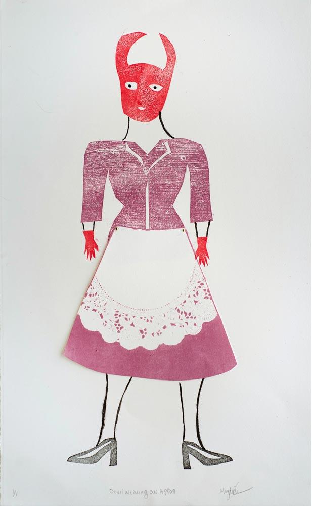 "Magda Baker: Devil Wearing an Apron, 2020, Monotype, 22"" x"