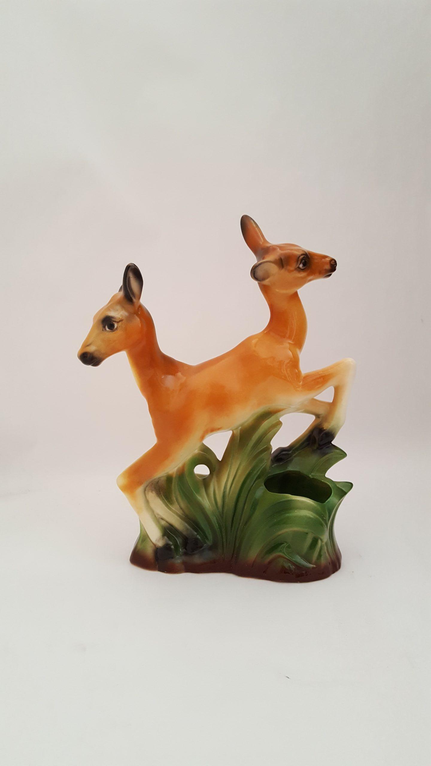 "Debra Broz, Double Deer, 2020 Mixed media on secondhand ceramic figurines 10"" x 8"" x 3"""