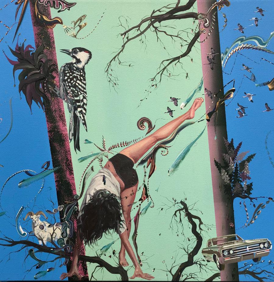 """Gegam Kacherian: Sliding Sky, 2021 Acrylic on canvas 24"""" x 24"""""""