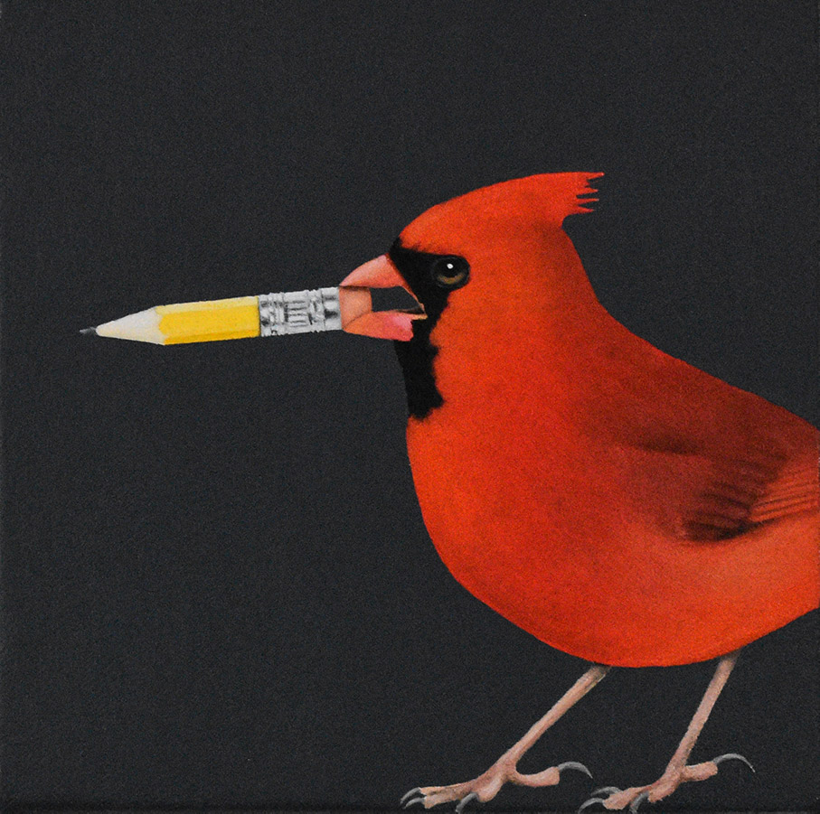 "Robin McCauley: Pencil, 2020 Oil on canvas 6"" x 6"""