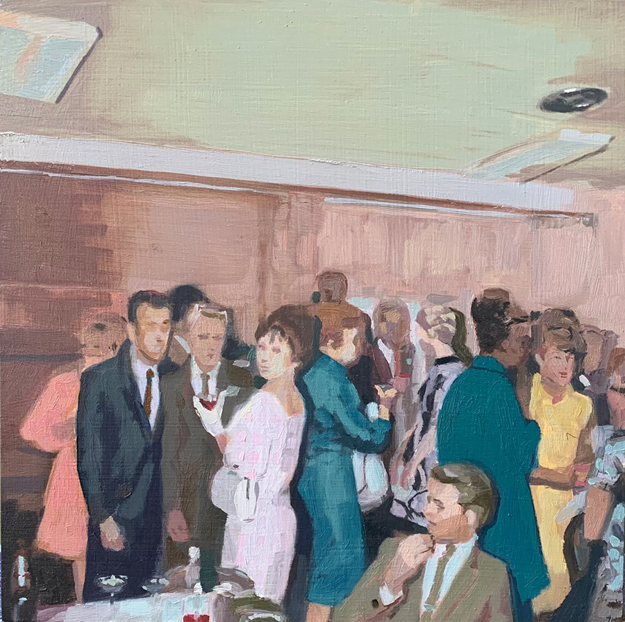 """Kirsten Tradowsky: After Party 1967, 2021 Oil on panel 8"""" x 8"""""""