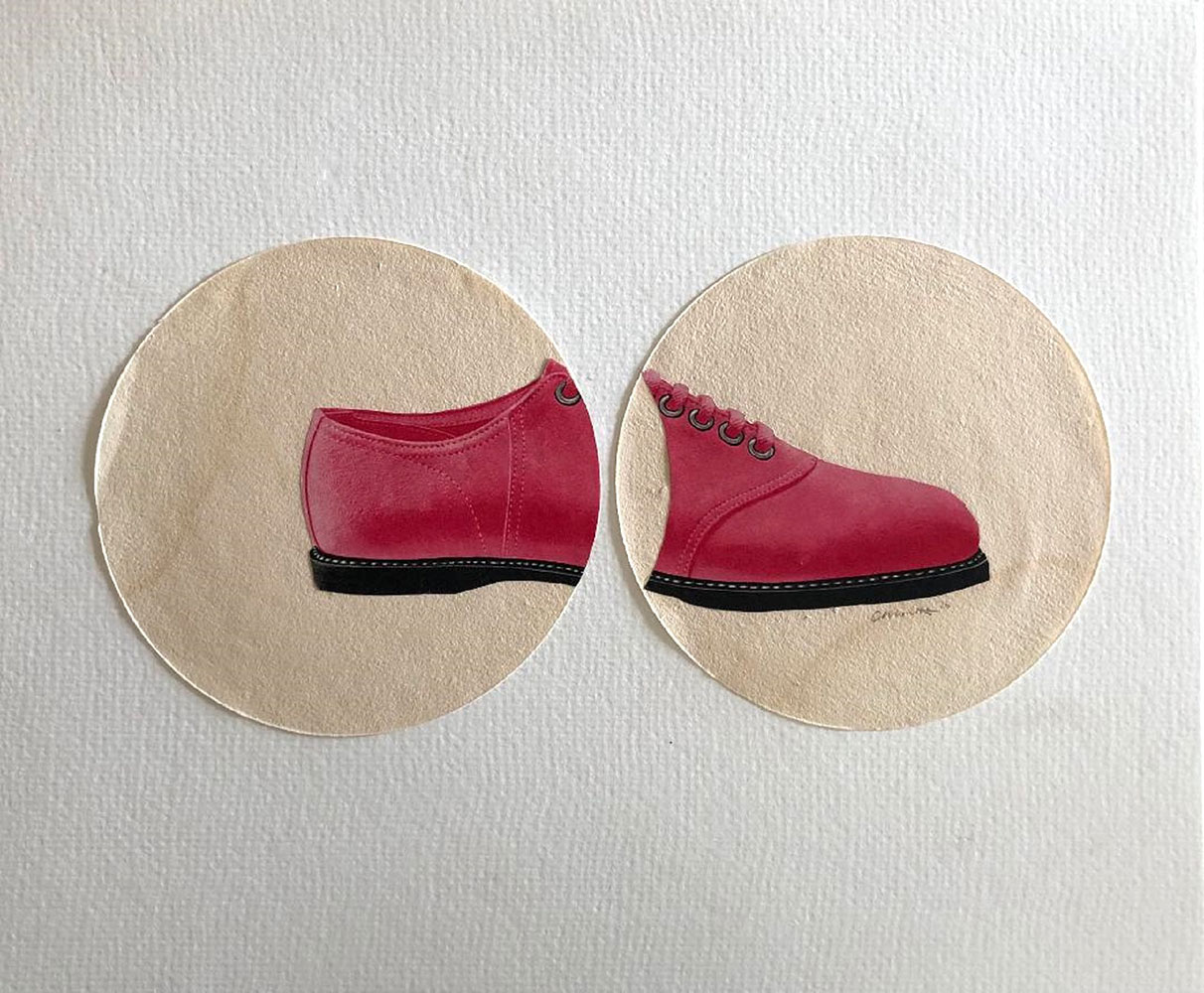"""Colleen Monette, Pink Shoe, 2020, Collage on paper, 10"""" x 12"""", $100 retail"""
