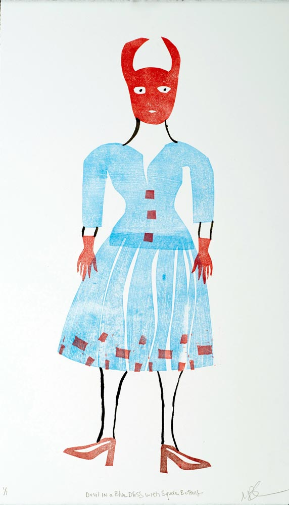 """Magda Baker: Devil in a Blue Dress with Square Buttons, 2020, Monotype, 22"""" x 13"""""""