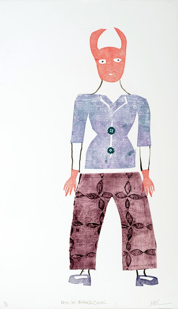 """Magda Baker: Devil in Business Casual, 2020, Monotype and collage, 22"""" x 13"""""""