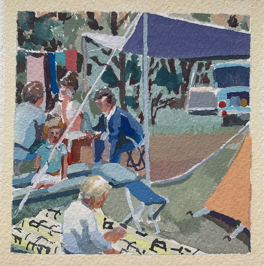 """Kirsten Tradowsky: Picnic at Lost Lake, 2021 Gouache on paper 3 ½"""" x 3 ½"""""""