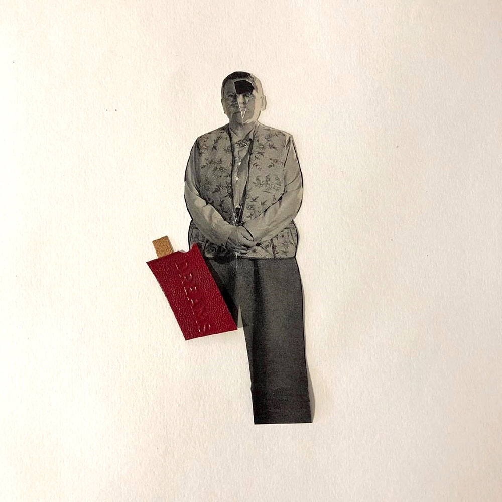 """Colleen Monette, Dreams Of, 2020, Collage on paper, 8"""" x 2.5"""", $100 retail"""