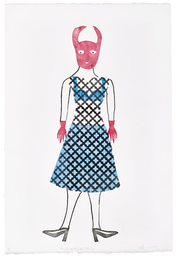 """Magda Baker: Devil in a Lace Dress, 2021, Monotype and India Ink, 22"""" x 15"""""""