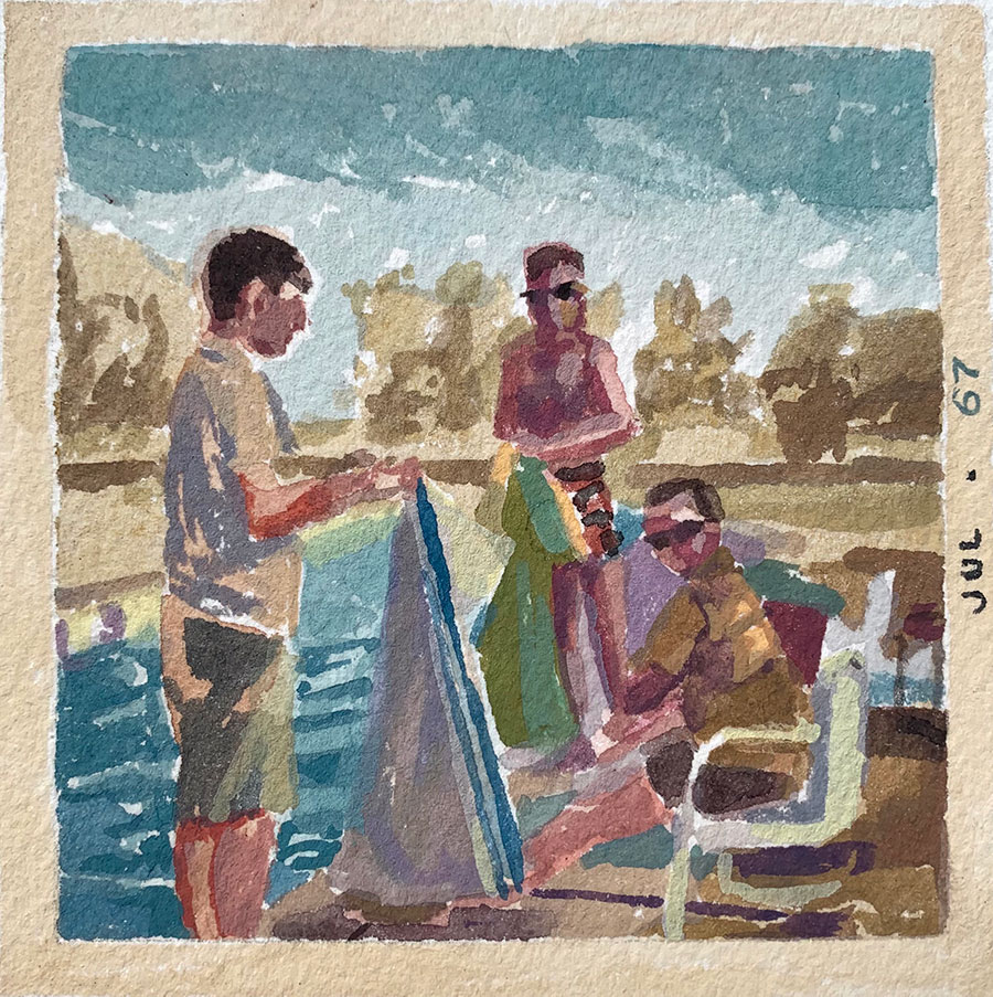 """Kirsten Tradowsky: July 67 Pool Party, 2021 Gouache on paper 3 ½"""" x 3 ½"""""""