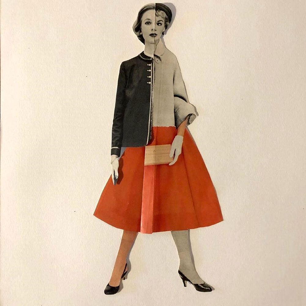"""Colleen Monette, Two Faced, 2020, Collage on paper, 11"""" x 5"""", $100 retail"""