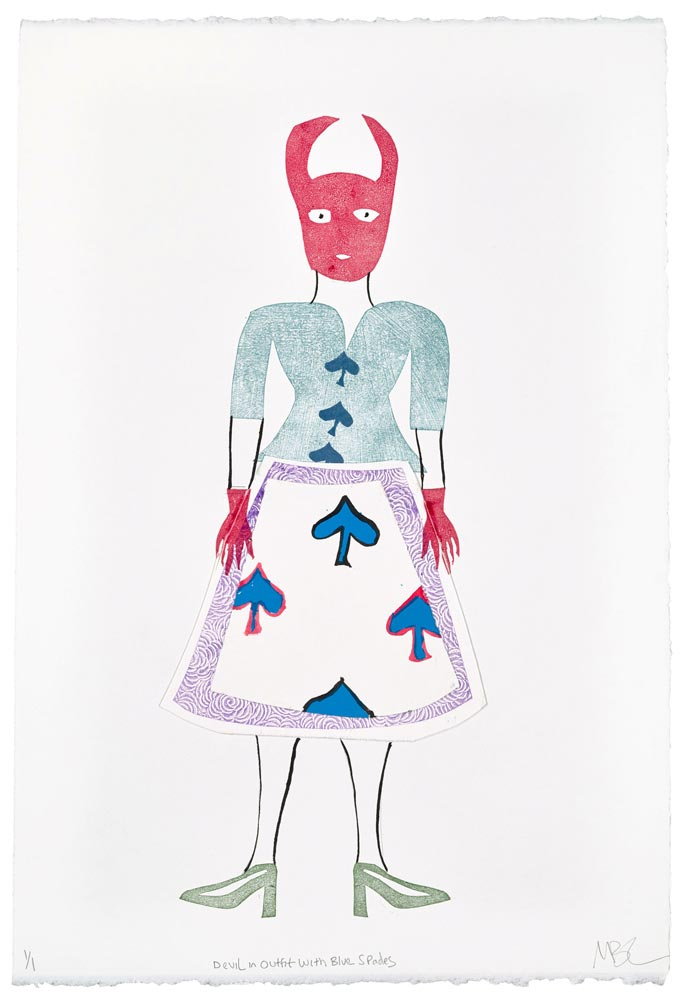 """Magda Baker: Devil in Outfit with Blue Spades, 2021, Monotype, Collage, and India Ink, 22"""" x 15"""""""