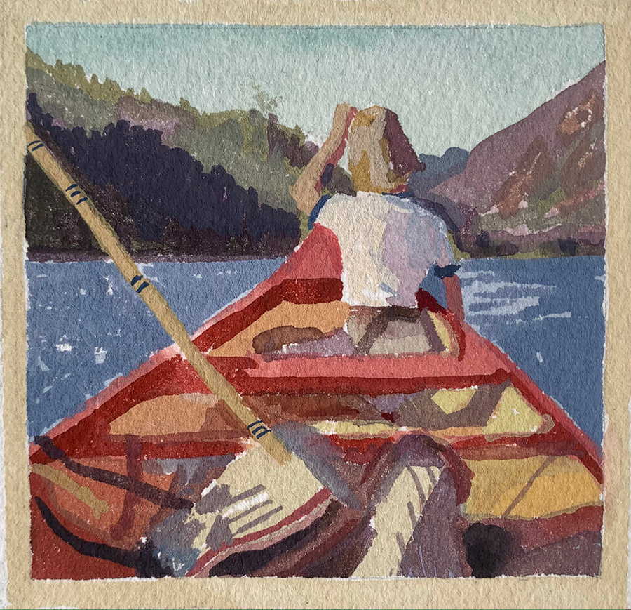 "Kirsten Tradowsky: Lake Caribou 1966, 2021 Gouache on paper 3 ½"" x 3 ½"""