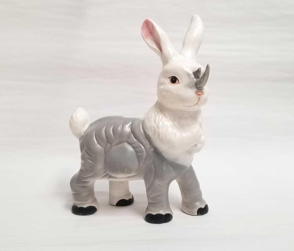 "Debra Broz Rabbit Rhinoceros, 2021 Mixed media on secondhand ceramic figurines 8"" x 9"" x 5"""