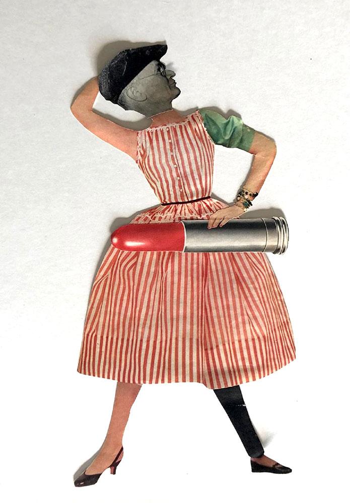 "Colleen Monette, Lipstick Man, 2020, Collage on paper , 11 ½"" x 6"", $100 retail"