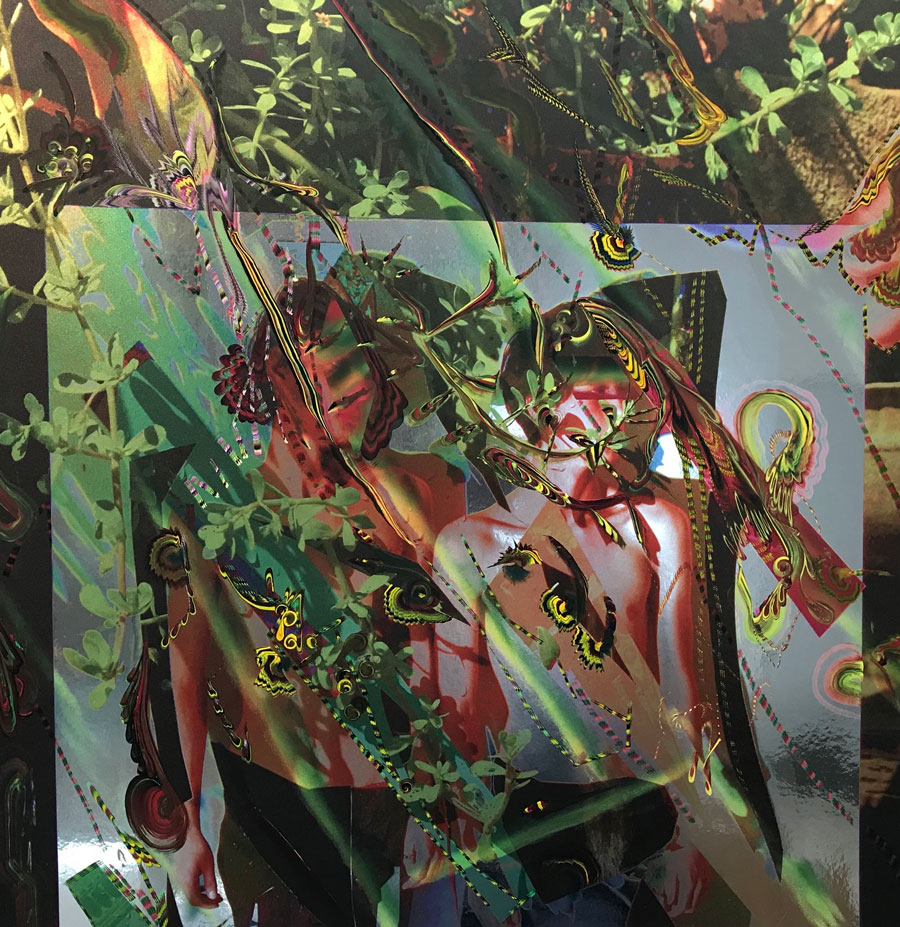 "Gegam Kacherian: Water Wall, 2018 Acrylic on UV Coated Ink on Mylar 24"" x 24"""