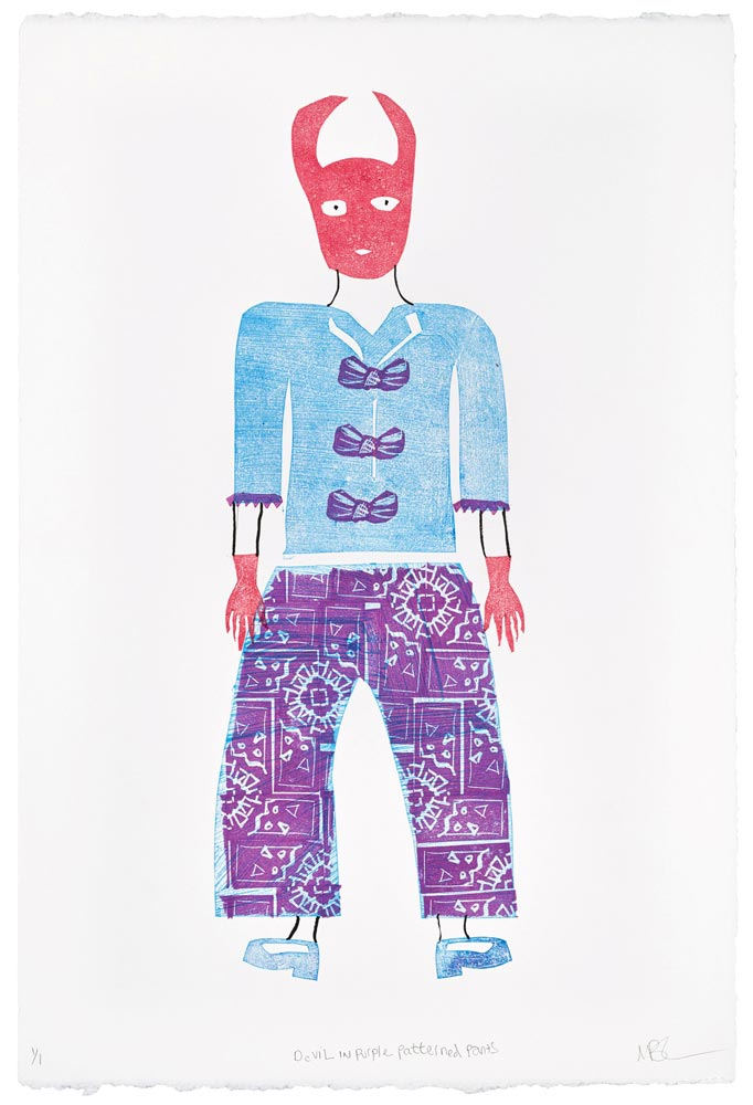 """Magda Baker: Devil in Purple Patterned Pants, 2021, Monotype, Stamp Making, and India Ink, 22"""" x 15"""""""