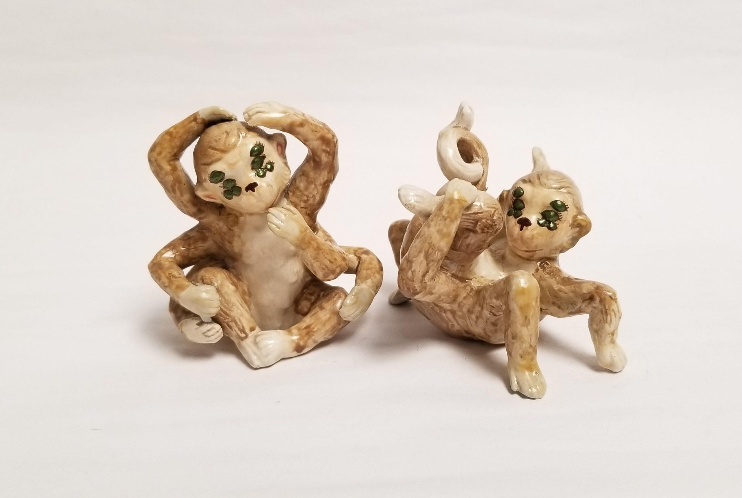 "Debra Broz, Spider Monkeys, 2021 Mixed media on secondhand ceramic figurines 3 ½"" x 3"" x 3"" and 3 ½"" x 4"" x 3 ½"""