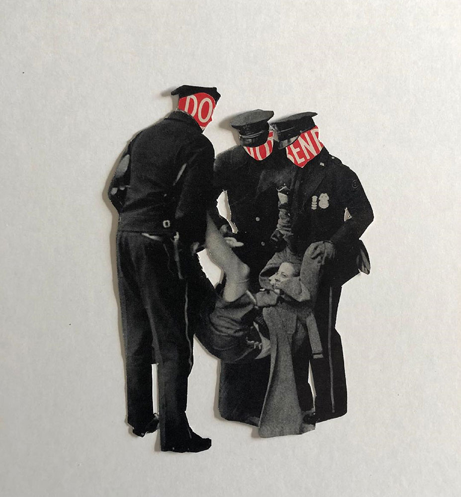 """Colleen Monette, Do Not Bend, 2020, Collage on paper, 6 ½"""" x 5"""", $100 retail"""