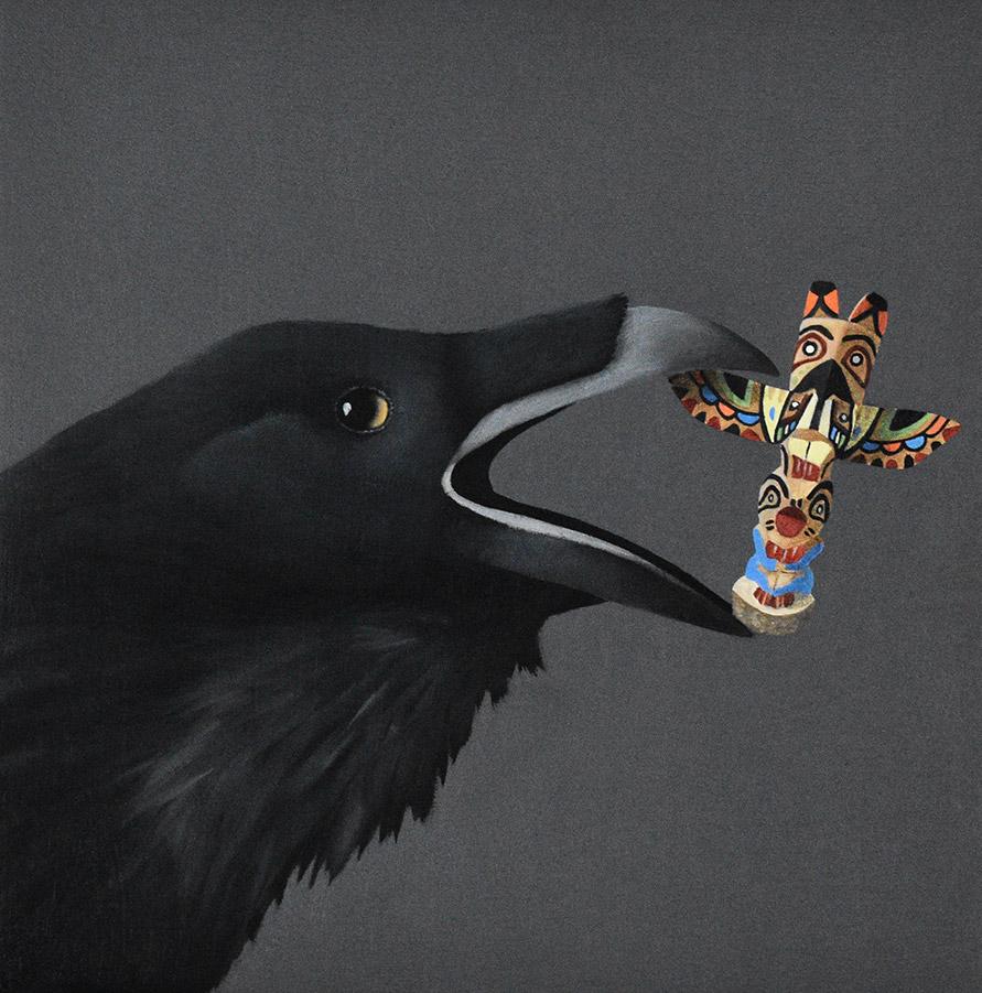 "Robin McCauley: Totem Too, 2021 Oil on canvas 8"" x 8"""