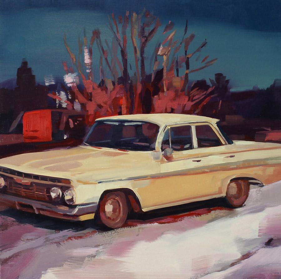 "Kirsten Tradowsky: 1962 Chevy, 2018 Oil on canvas 20 "" x 20"""