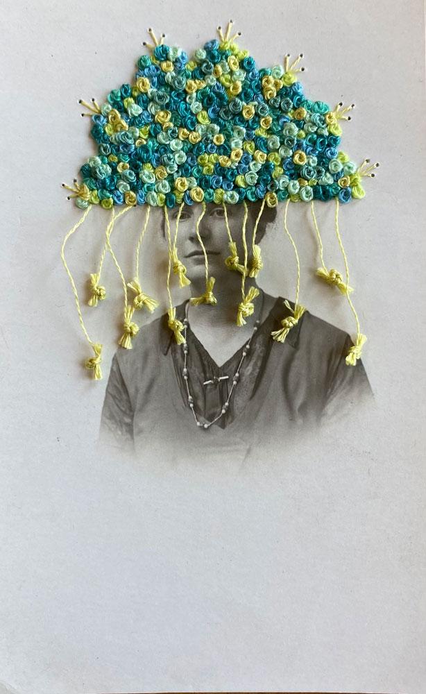 "Hey Lady Art Studio: Rainy Season, 2021 Antique postcard, embroidery floss 5 ½"" x 3 ½"""