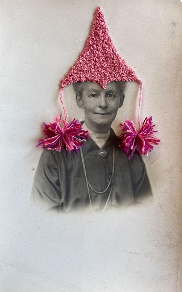 "Hey Lady Art Studio: So Mature, 2021 Antique postcard, embroidery floss 5 ½"" x 3 ½"""