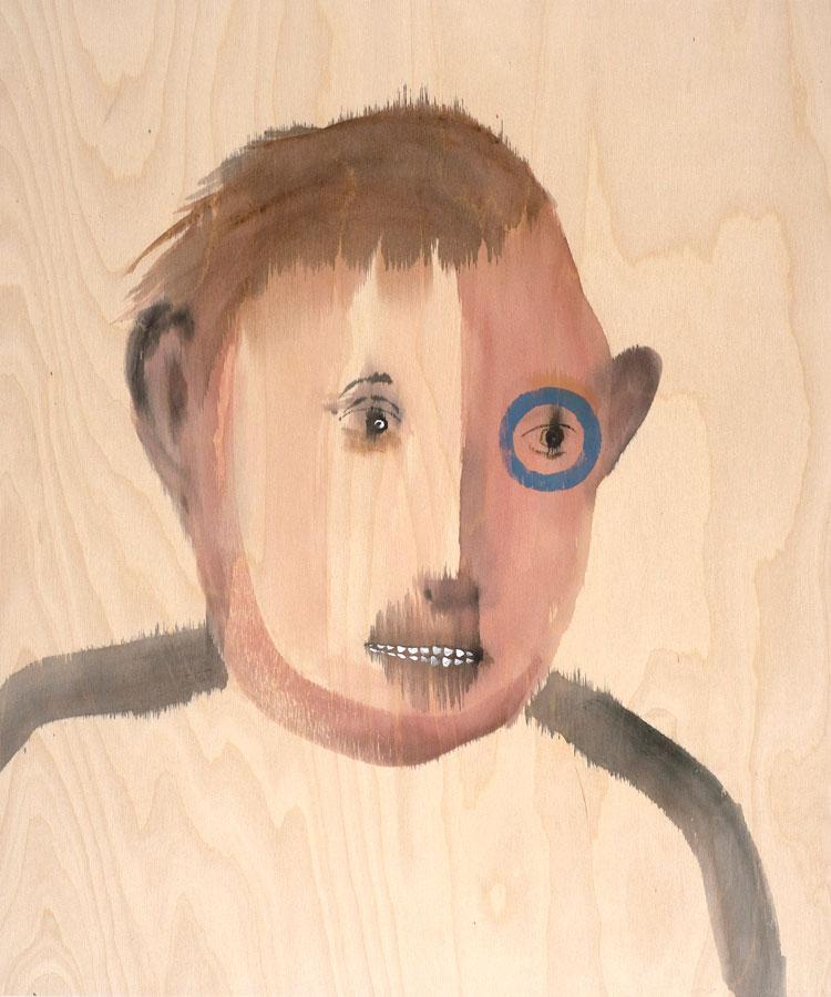 """Jon Huck: Perk, 2020 Mixed media on wood panel 20"""" x 24"""""""