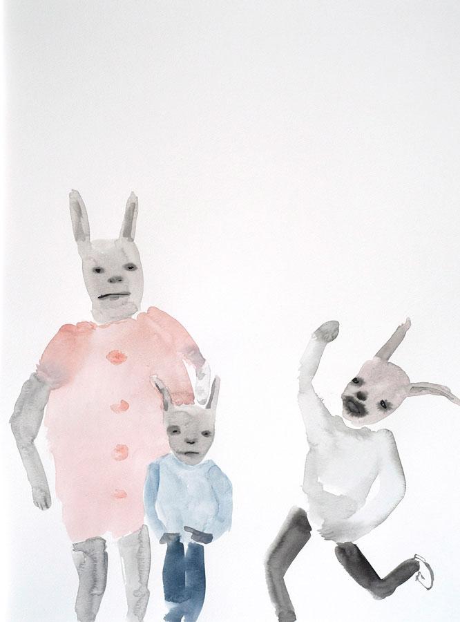 "Jon Huck: Rabbits, 2020 Watercolor on paper 18"" x 24"""