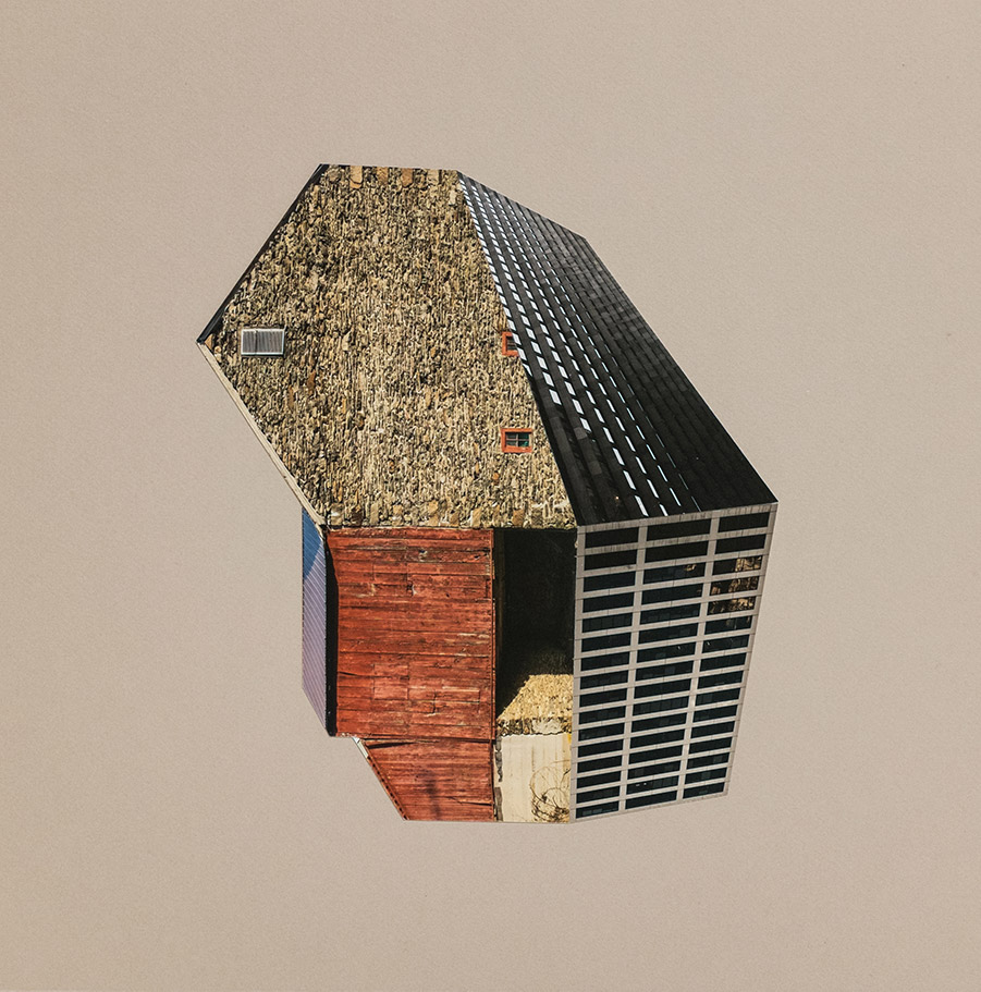 """Krista Svalbonos: Migrants 52 Pigment print and collage on board Image 14"""" × 14"""", frame size 16"""" x 16"""""""