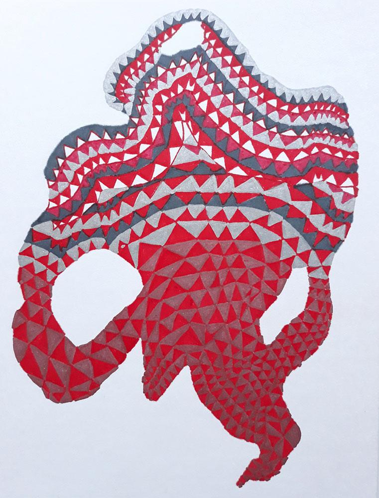 "Sophia Allison, Untitled (Red Point), 2021, Marker, pen on acid free paper, 8"" x 6"""