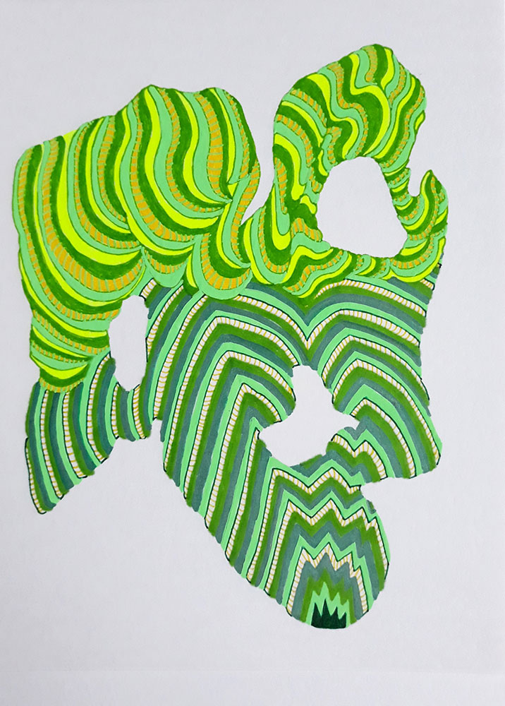"Sophia Allison, Untitled (Curly Succulent), 2021, Marker, pen on acid free paper, 8"" x 6"""