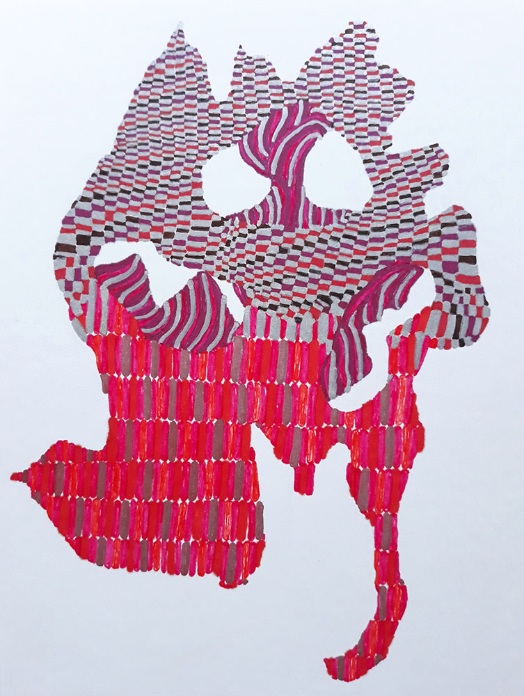 "Sophia Allison, Untitled (Tip Toe), 2021, Marker, pen on acid free paper, 8"" x 6"""
