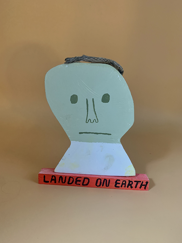 """Mark Todd, 6a, Landed on Earth, 2020 (two images, front and back, if can be included), Mixed media sculpture, 9"""" x 8"""" x 1"""""""