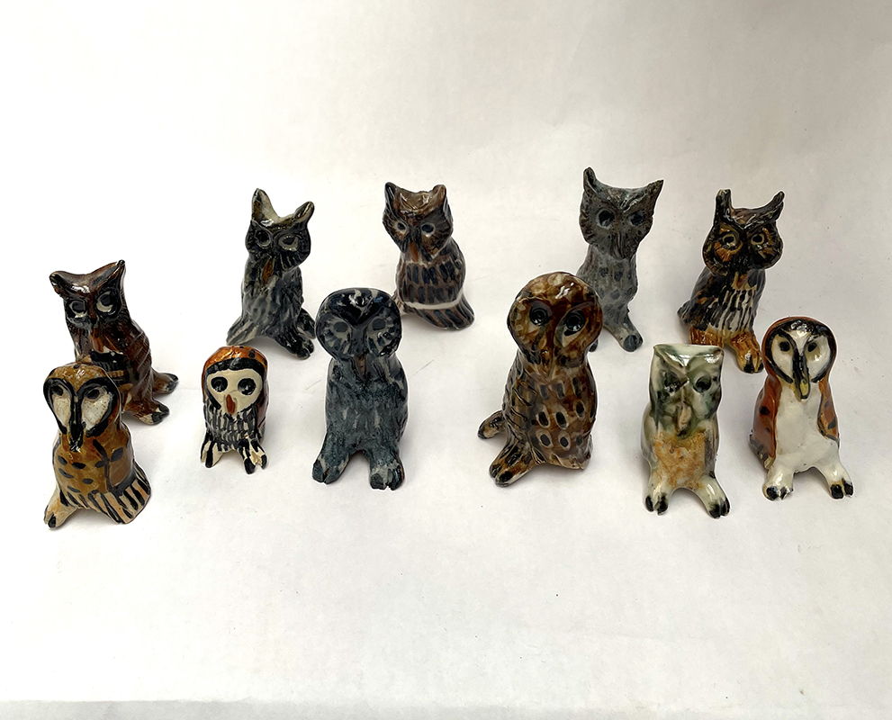 Aaron Murray,Ceramic owl and cat figurines and small – larger owl cups, Many delightful options to choose from, Sizes vary, prices range $24 - $72