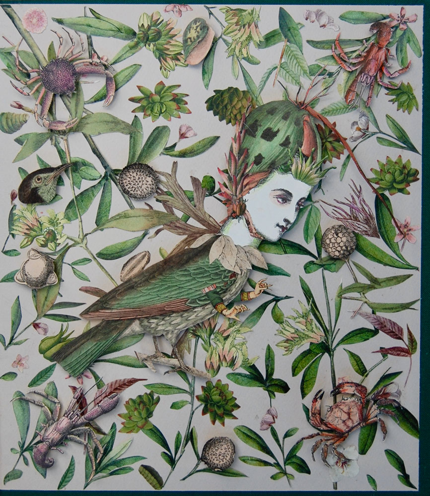 "Katie McCann, Birdie & Pink, 2021, Collage on book cover, 9 ½"" x 9 ½"", Price: $130"