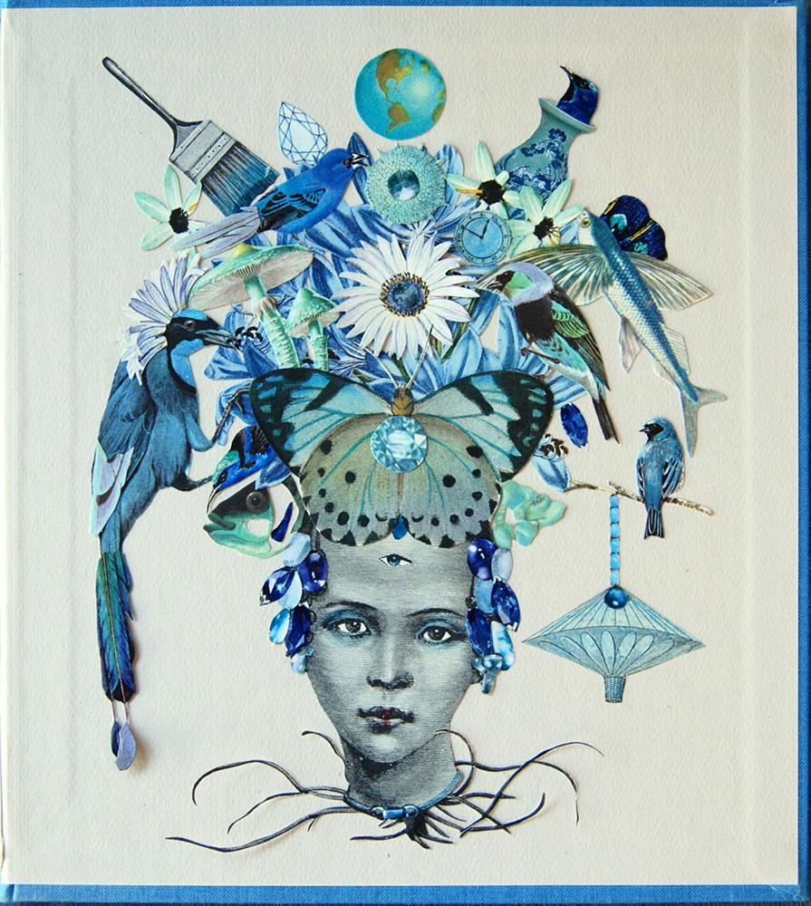 "Katie McCann, Blue Bird, 2021, Collage on book cover, 9 ½"" x 9 ½"", Price: $130"