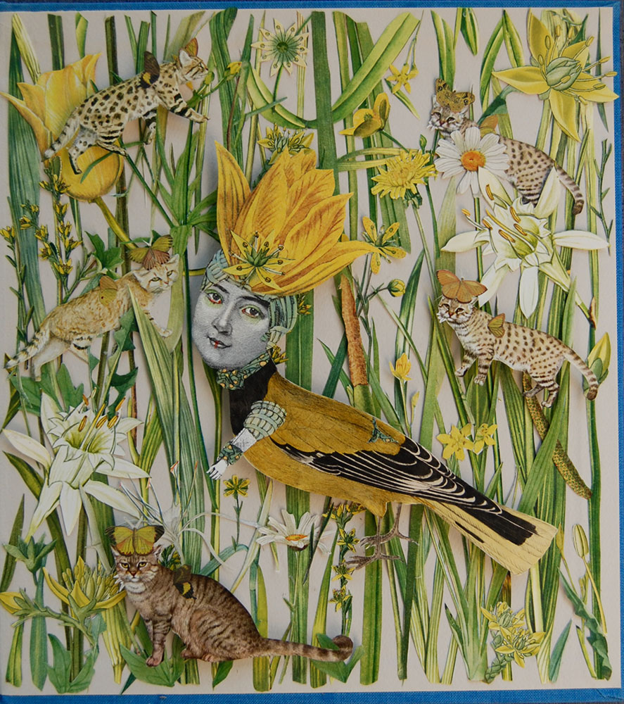 """Katie McCann, Cat Tails & Bird, 2021, Collage on book cover, 9 ½"""" x 9 ½"""", Price: $130"""