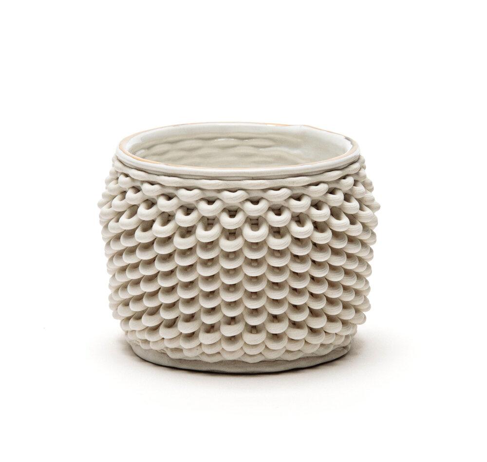 Foran Suon, Tealight set of six, Porcelain, glaze, gold luster, Set $499 or $89 per tealight