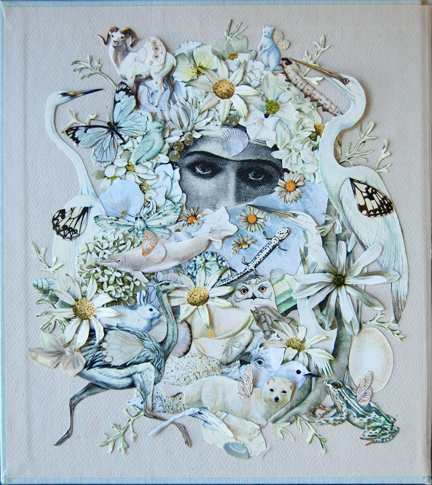 """Katie McCann, White Frost, 2021, Collage on book cover, 9 ½"""" x 9 ½"""", Price: $130"""