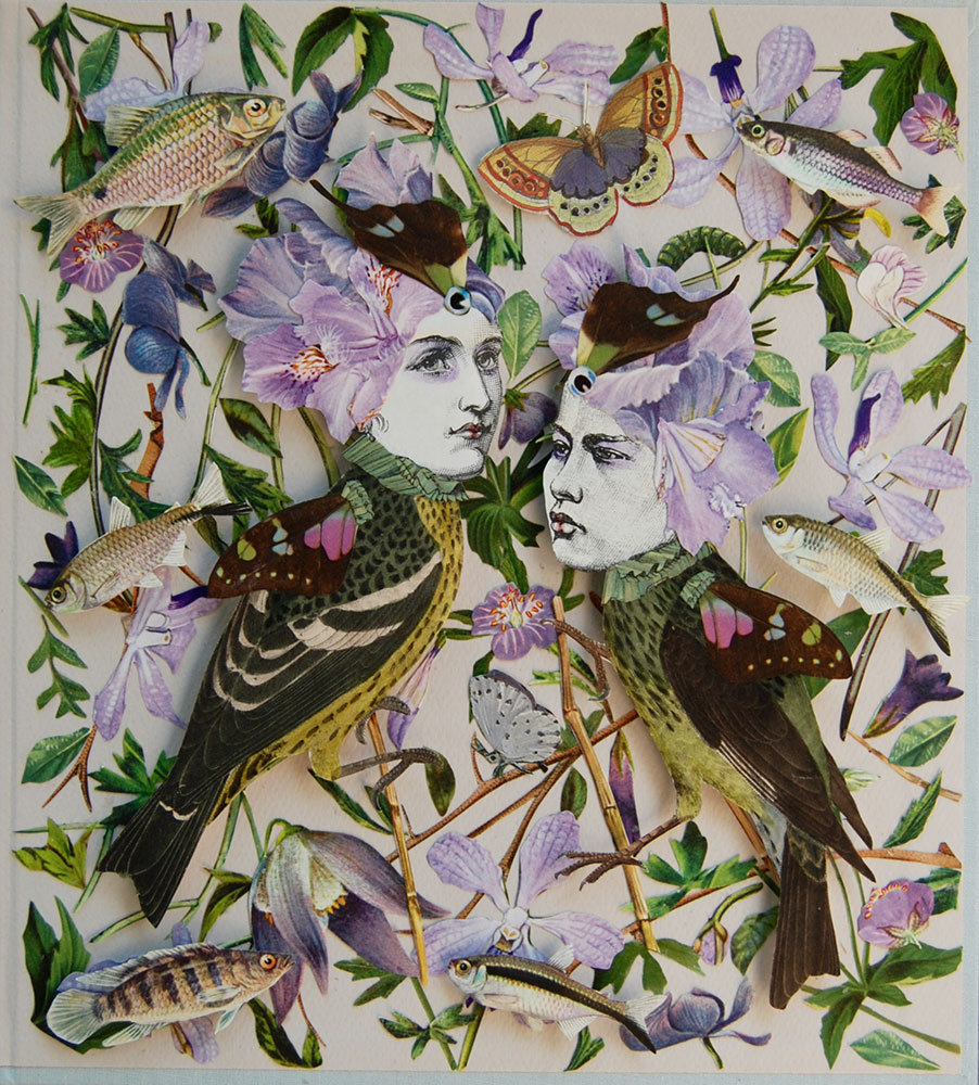 """Katie McCann, Petals & Fish, 2021, Collage on book cover, 9 ½"""" x 9 ½"""", Price: $130"""