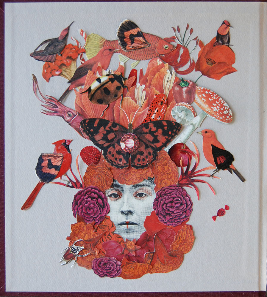 """Katie McCann, Red Pepper, 2021, Collage on book cover, 9 ½"""" x 9 ½"""", Price: $130"""