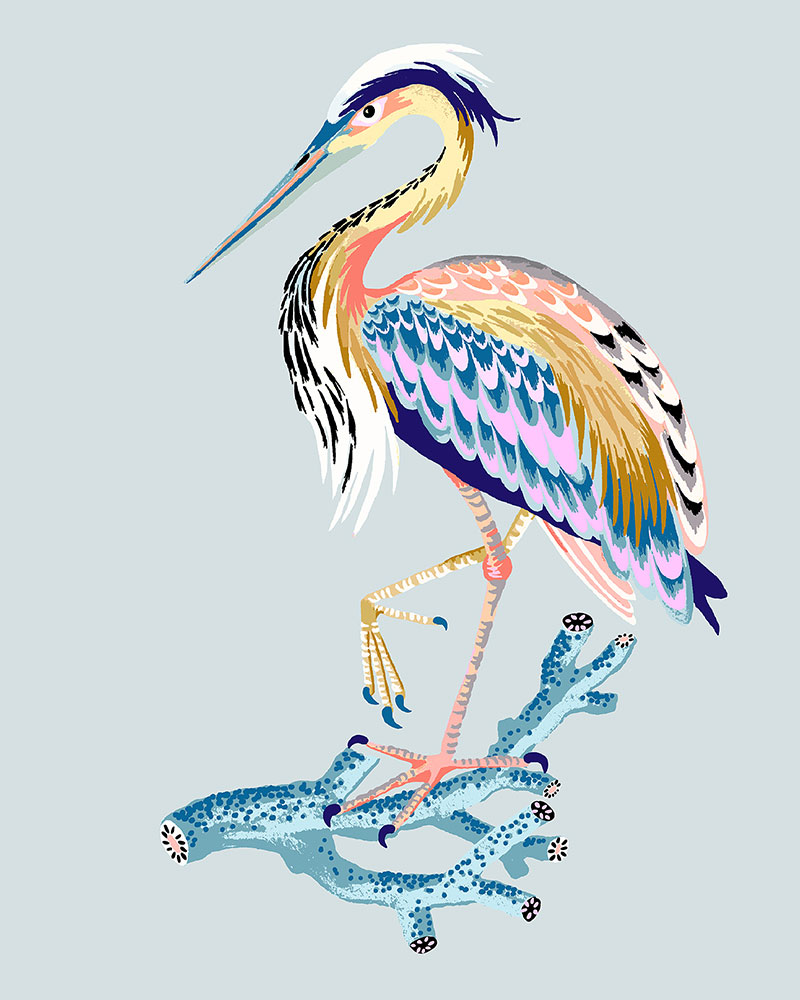 "Heron, 2021 (Seafoam blue), Giclee print on Somerset Velvet paper 255gsm, 10"" x 8"", $35"