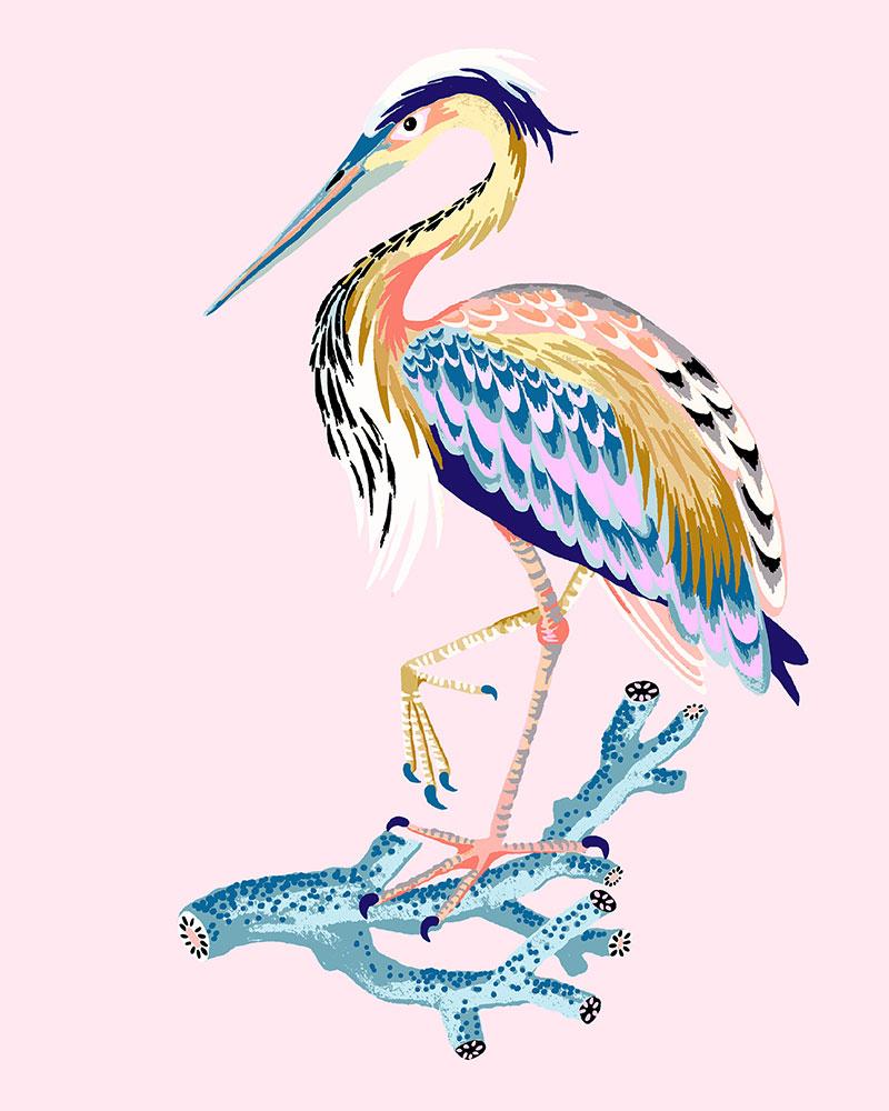 "Heron, 2021 (Shell pink), Giclee print on Somerset Velvet paper 255gsm, 10"" x 8"", $35"