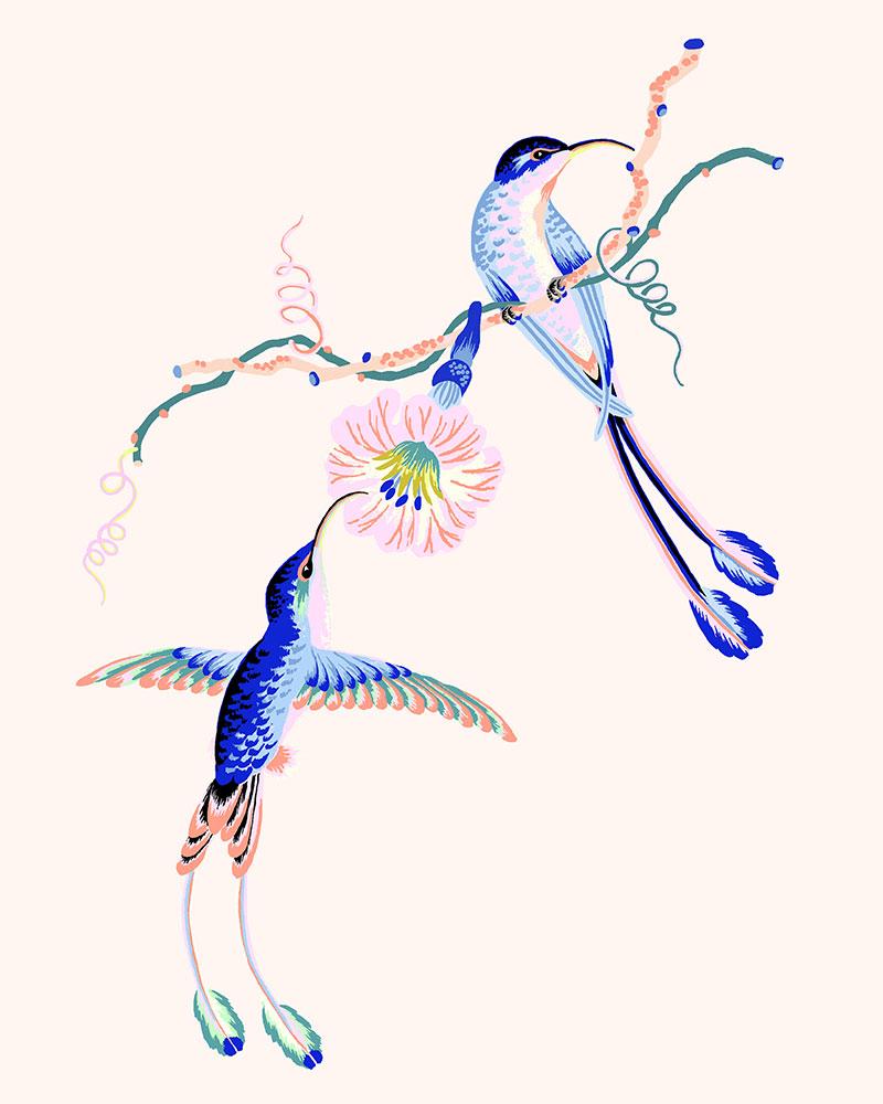"""Hummingbirds, 2021 (Cream), Giclee print on Somerset Velvet paper 255gsm, 10"""" x 8"""", $35"""