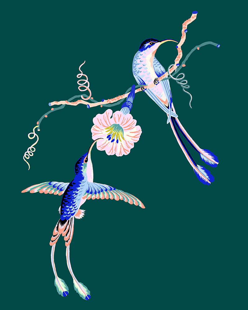 "Hummingbirds, 2021 (Teal), Giclee print on Somerset Velvet paper 255gsm, 10"" x 8"", $35"