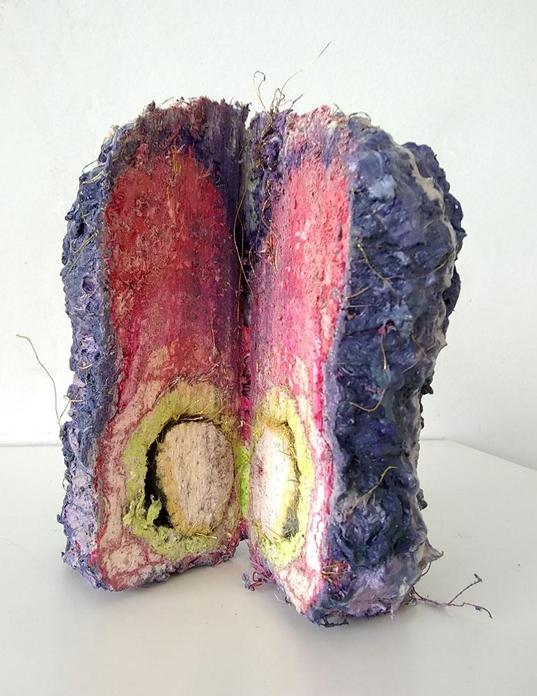 "Sophia Allison, Untitled (Excavation), Handmade paper from Vitamin P Phaidon art book, acrylic paint, gel and thread, 5 ½"" x 4"" x 3"", $400"