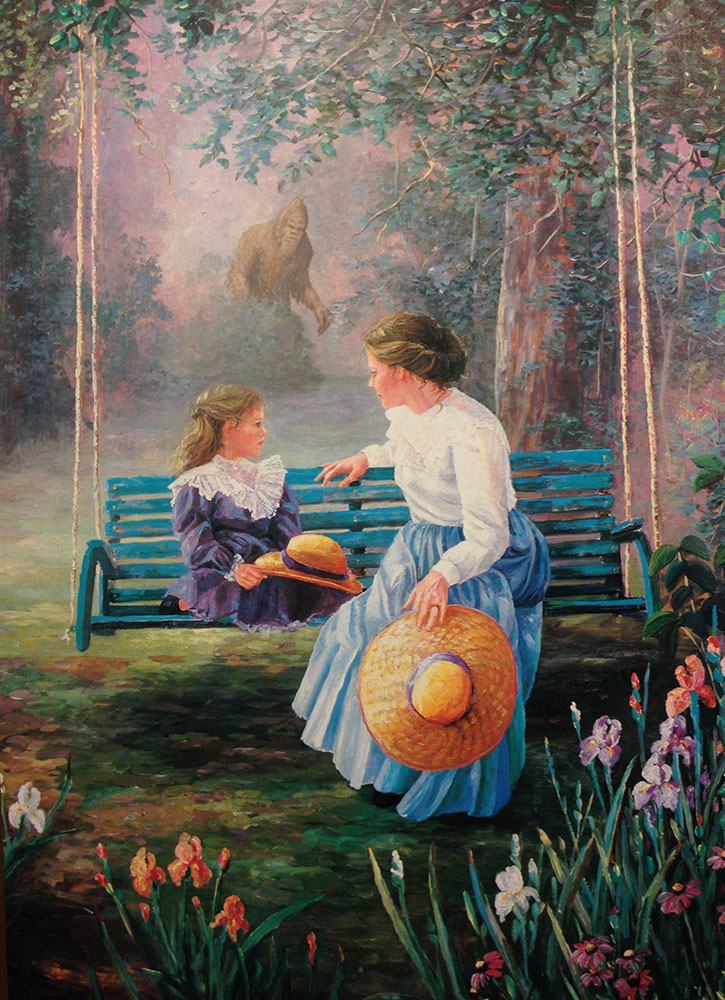 Jason Jones, Mother and Daughter, Altered Thrift Store Art, postcards and prints