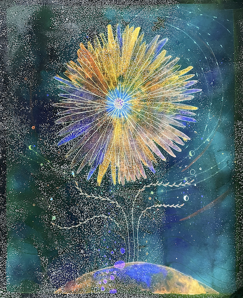 """Christine Nguyen Cosmos Flower I, 2021 Archival pigment ink on Entrada Moab paper with salt crystals 40"""" x 33"""""""