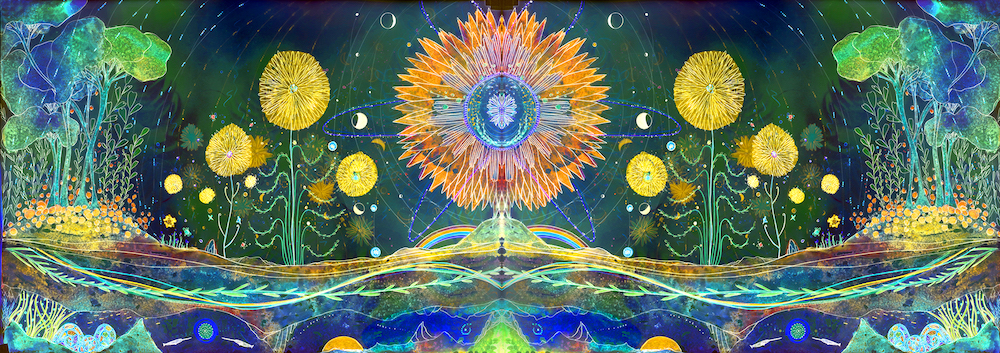 """Christine Nguyen Cosmic Garden I, 2021 Archival pigment ink on Entrada Moab paper with salt crystals 40"""" x 113"""""""