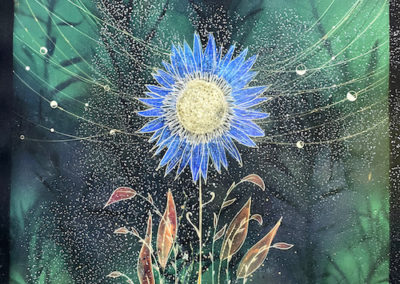 """Christine Nguyen Sunflower Cosmos, 2021 Archival pigment ink on Entrada Moab paper with salt crystals 40"""" x 33"""""""